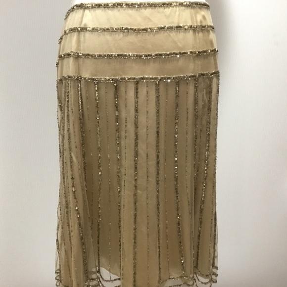 Dana Buchman Dresses & Skirts - Dana Buchman Gold Sand Beaded Layered Skirt Sz 12